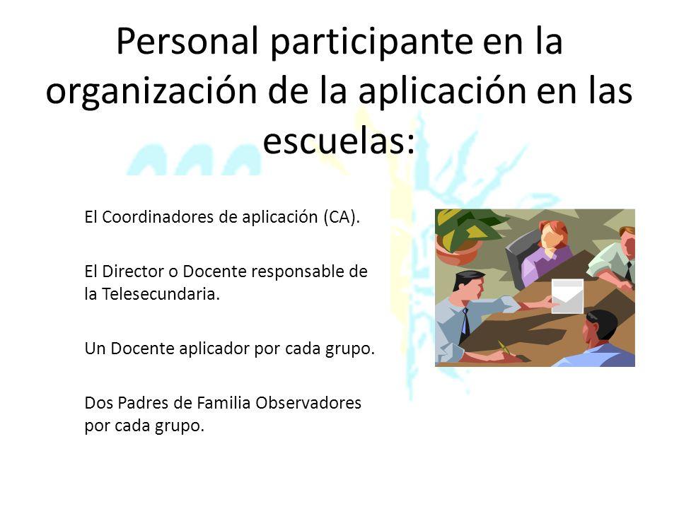 Principales responsabilidades de los participantes Coordinador de Aplicación CA Asistir a la capacitación convocada por el Coordinador Operativo.