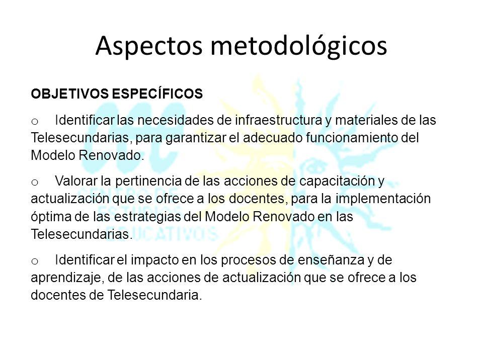 Aspectos metodológicos OBJETIVOS ESPECÍFICOS o Valorar la implementación, por parte del docente, de las estrategias didácticas del Modelo Renovado en los procesos de enseñanza y aprendizaje.
