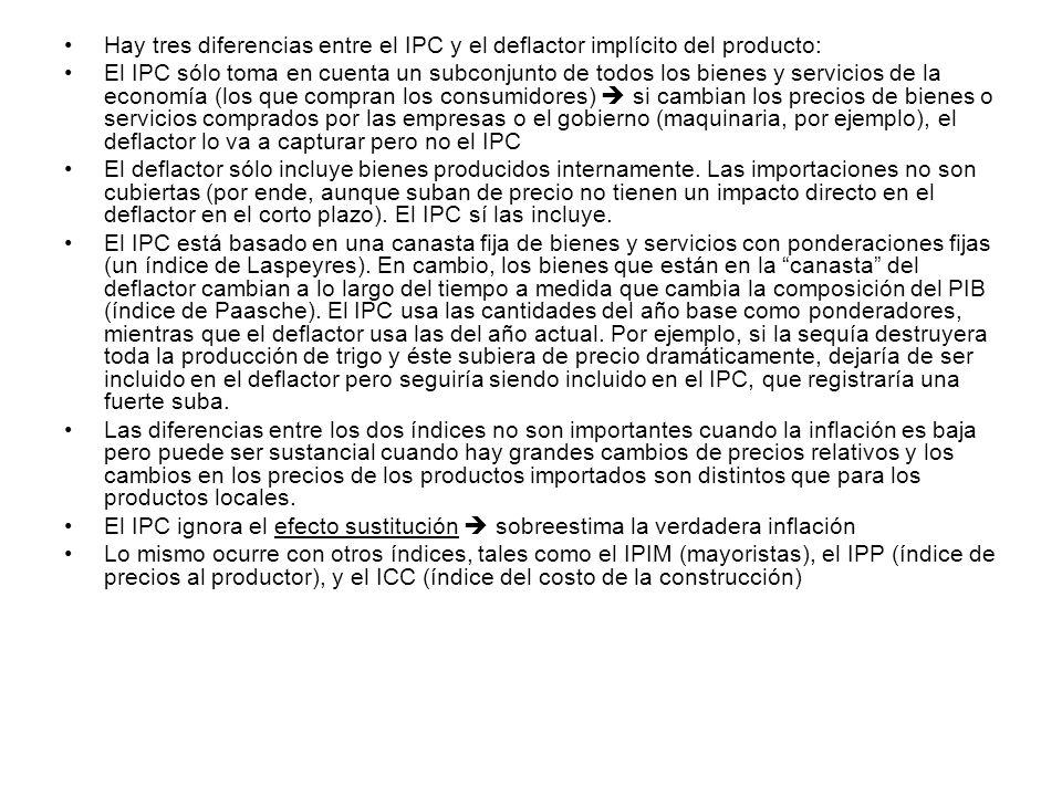 Hay tres diferencias entre el IPC y el deflactor implícito del producto: El IPC sólo toma en cuenta un subconjunto de todos los bienes y servicios de