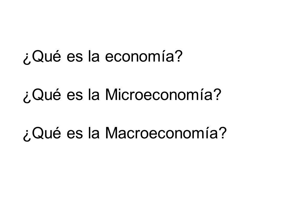 ¿Qué es la economía? ¿Qué es la Microeconomía? ¿Qué es la Macroeconomía?