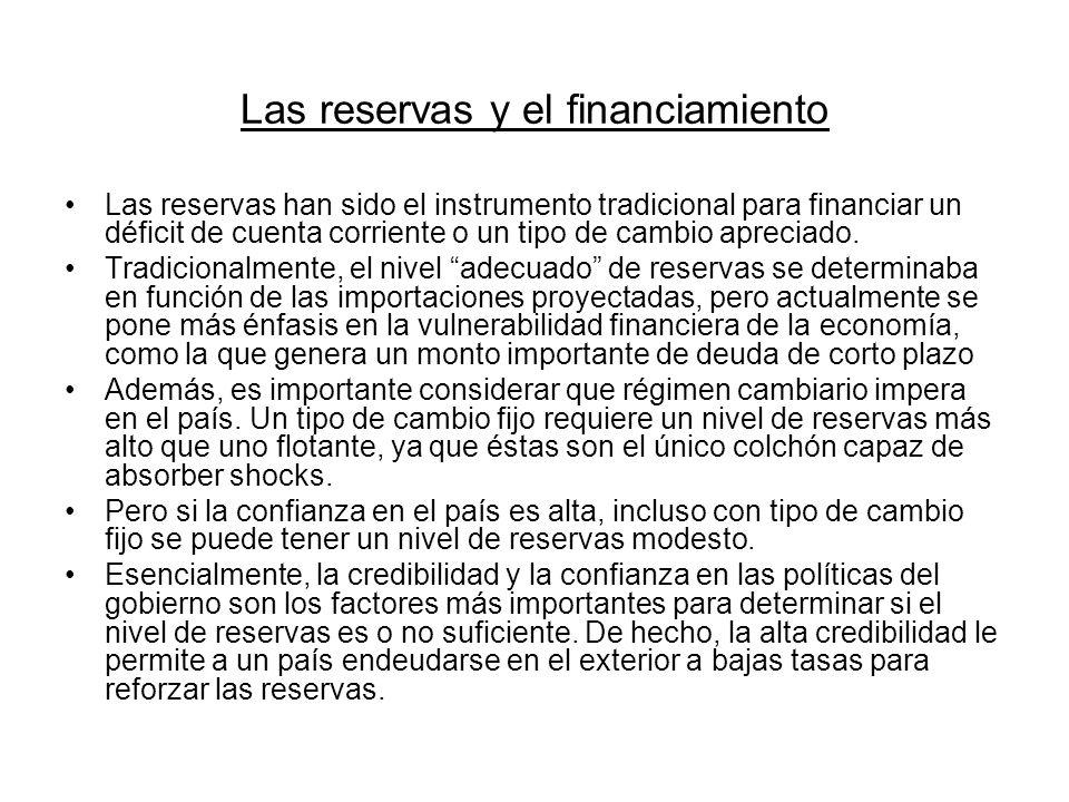 Las reservas y el financiamiento Las reservas han sido el instrumento tradicional para financiar un déficit de cuenta corriente o un tipo de cambio ap