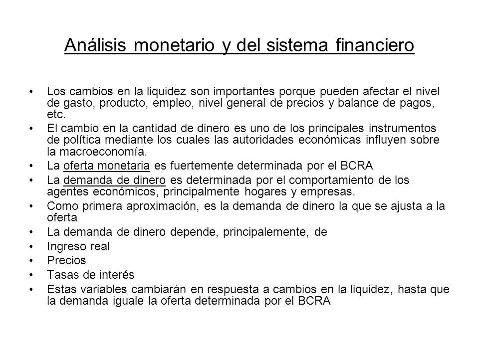 Análisis monetario y del sistema financiero Los cambios en la liquidez son importantes porque pueden afectar el nivel de gasto, producto, empleo, nive