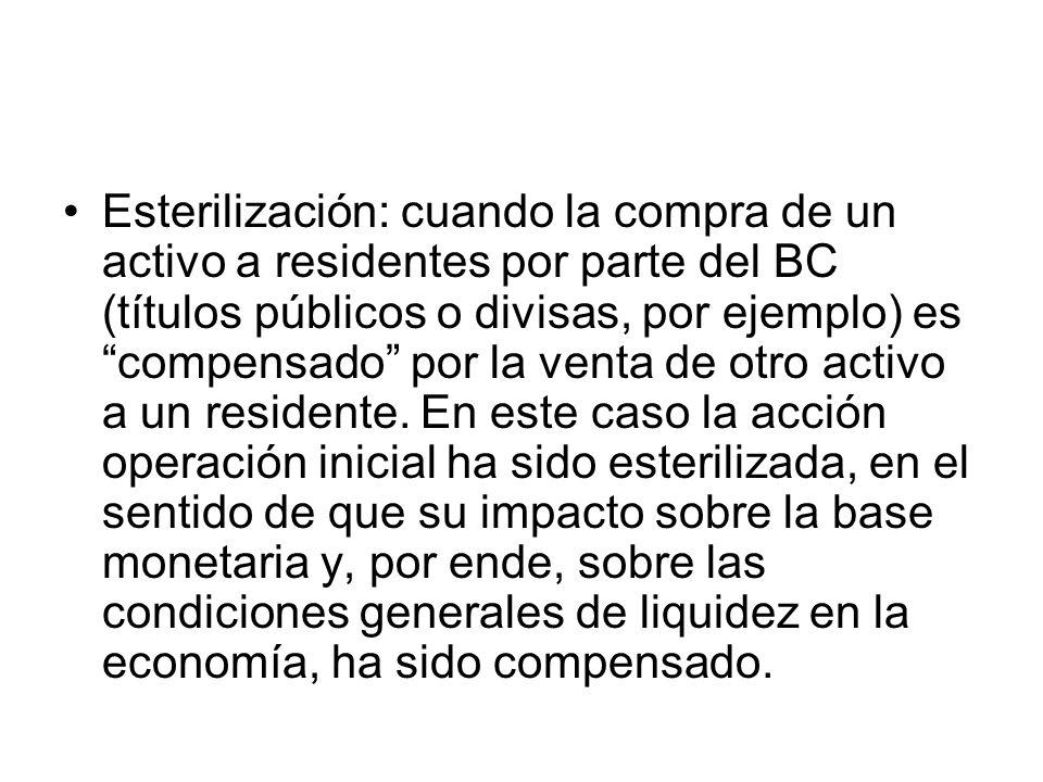 Esterilización: cuando la compra de un activo a residentes por parte del BC (títulos públicos o divisas, por ejemplo) es compensado por la venta de ot