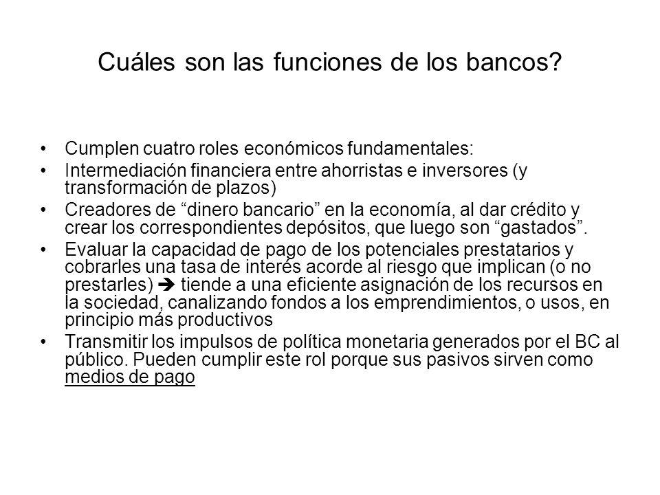 Cuáles son las funciones de los bancos? Cumplen cuatro roles económicos fundamentales: Intermediación financiera entre ahorristas e inversores (y tran
