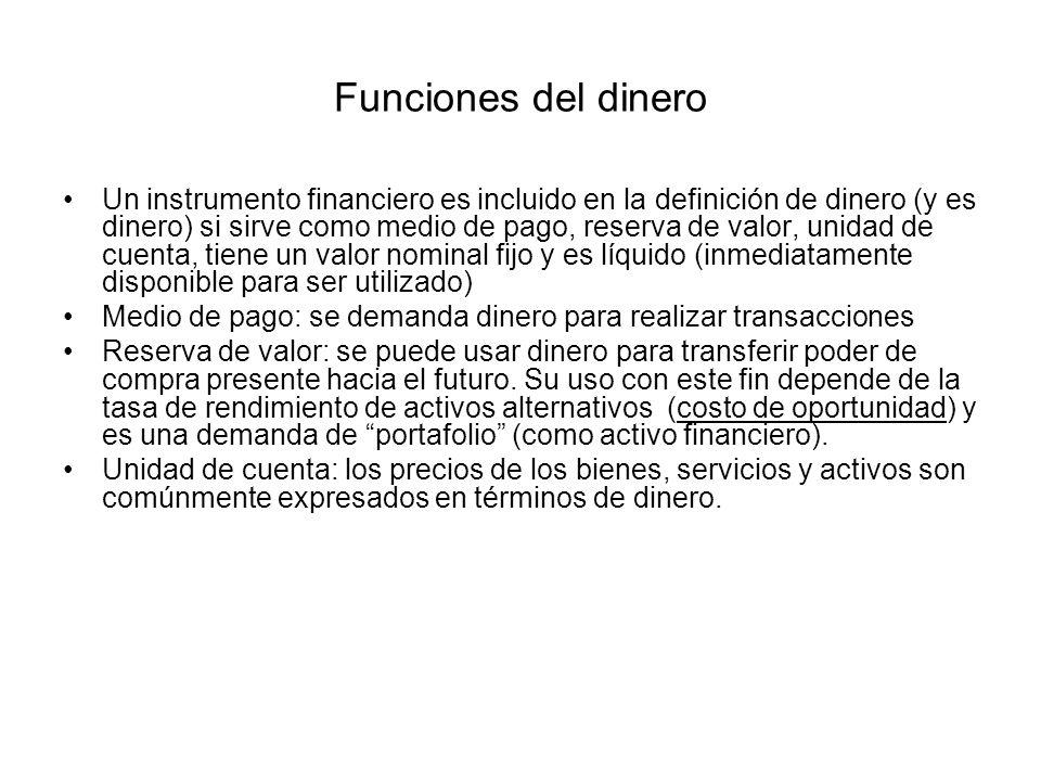 Funciones del dinero Un instrumento financiero es incluido en la definición de dinero (y es dinero) si sirve como medio de pago, reserva de valor, uni