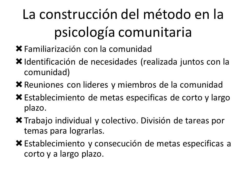 La construcción del método en la psicología comunitaria Familiarización con la comunidad Identificación de necesidades (realizada juntos con la comuni