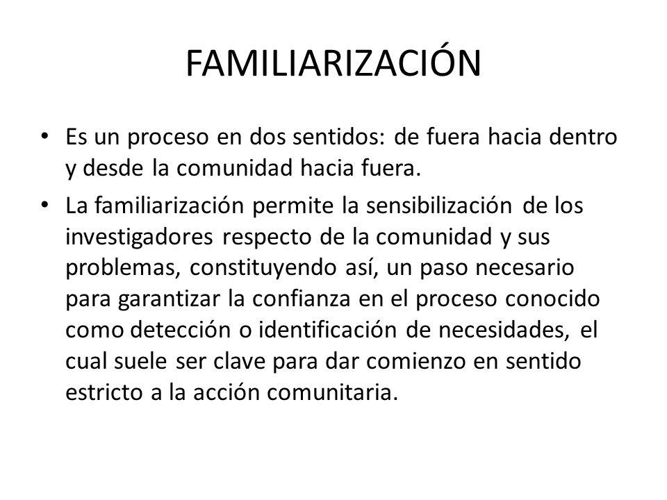 FAMILIARIZACIÓN Es un proceso en dos sentidos: de fuera hacia dentro y desde la comunidad hacia fuera. La familiarización permite la sensibilización d