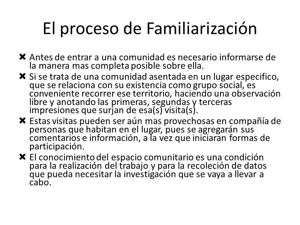 El proceso de Familiarización Antes de entrar a una comunidad es necesario informarse de la manera mas completa posible sobre ella. Si se trata de una
