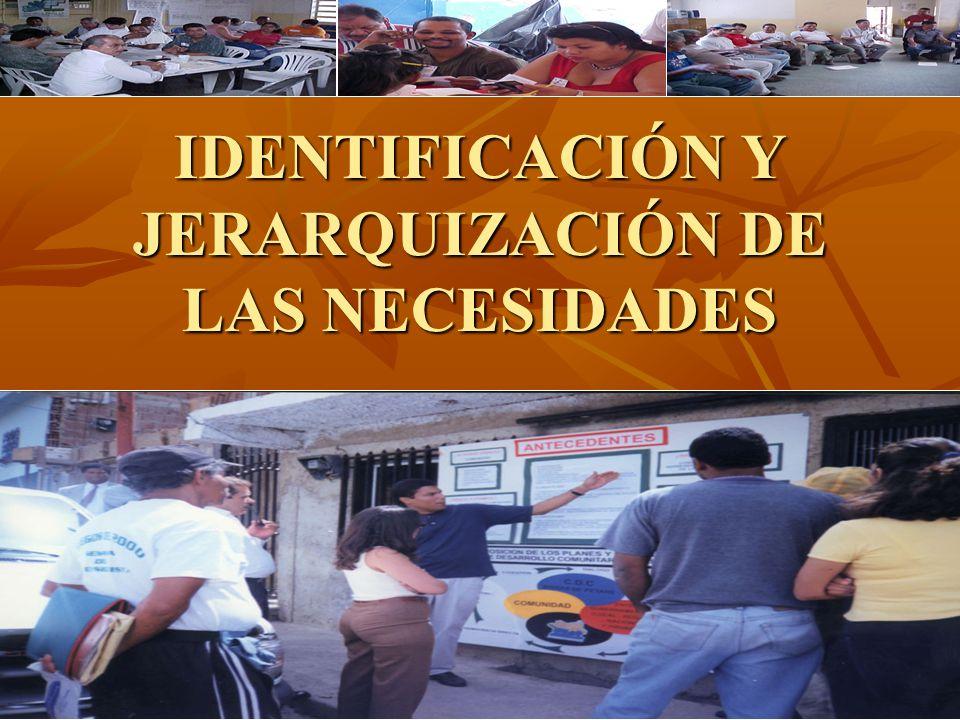 IDENTIFICACIÓN Y JERARQUIZACIÓN DE LAS NECESIDADES
