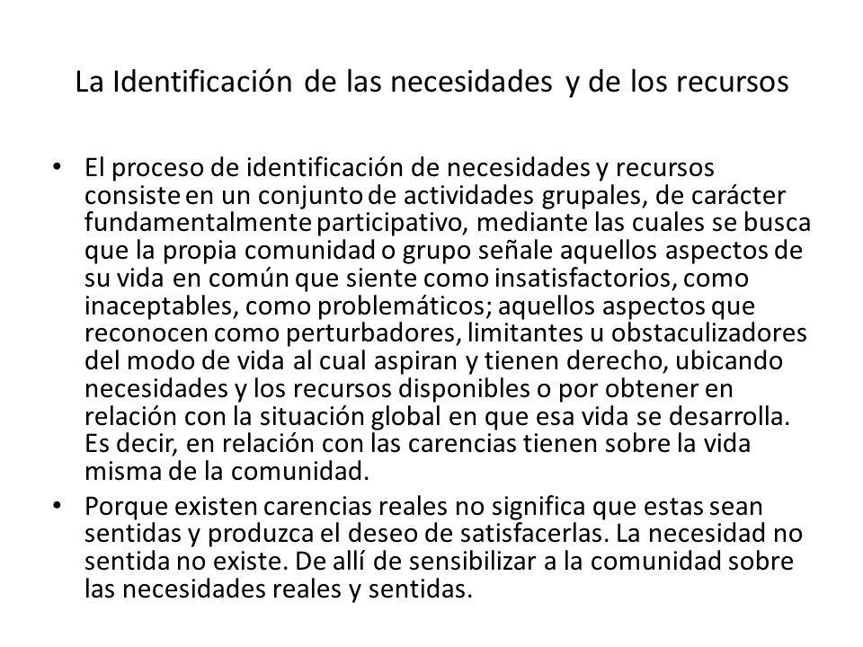 La Identificación de las necesidades y de los recursos El proceso de identificación de necesidades y recursos consiste en un conjunto de actividades g