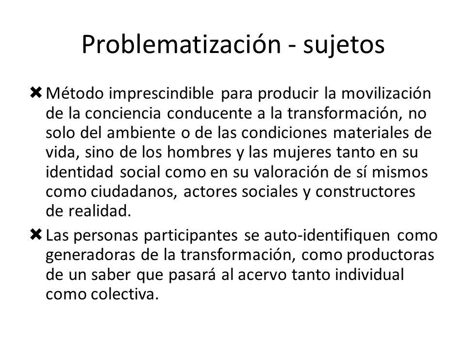 Problematización - sujetos Método imprescindible para producir la movilización de la conciencia conducente a la transformación, no solo del ambiente o