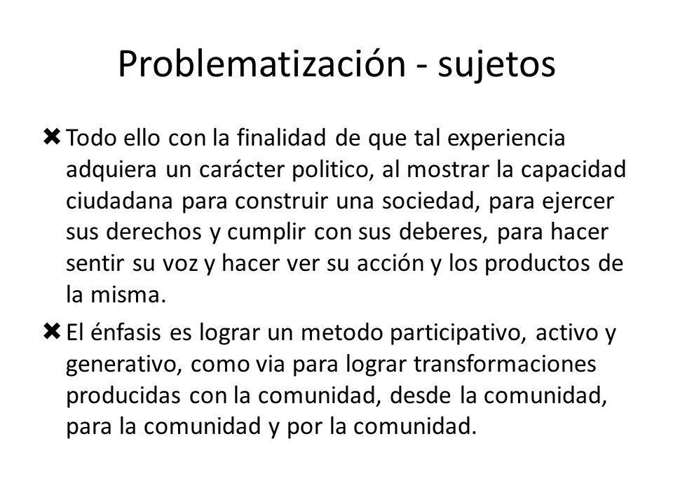Problematización - sujetos Todo ello con la finalidad de que tal experiencia adquiera un carácter politico, al mostrar la capacidad ciudadana para con