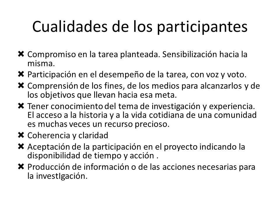 Cualidades de los participantes Compromiso en la tarea planteada. Sensibilización hacia la misma. Participación en el desempeño de la tarea, con voz y