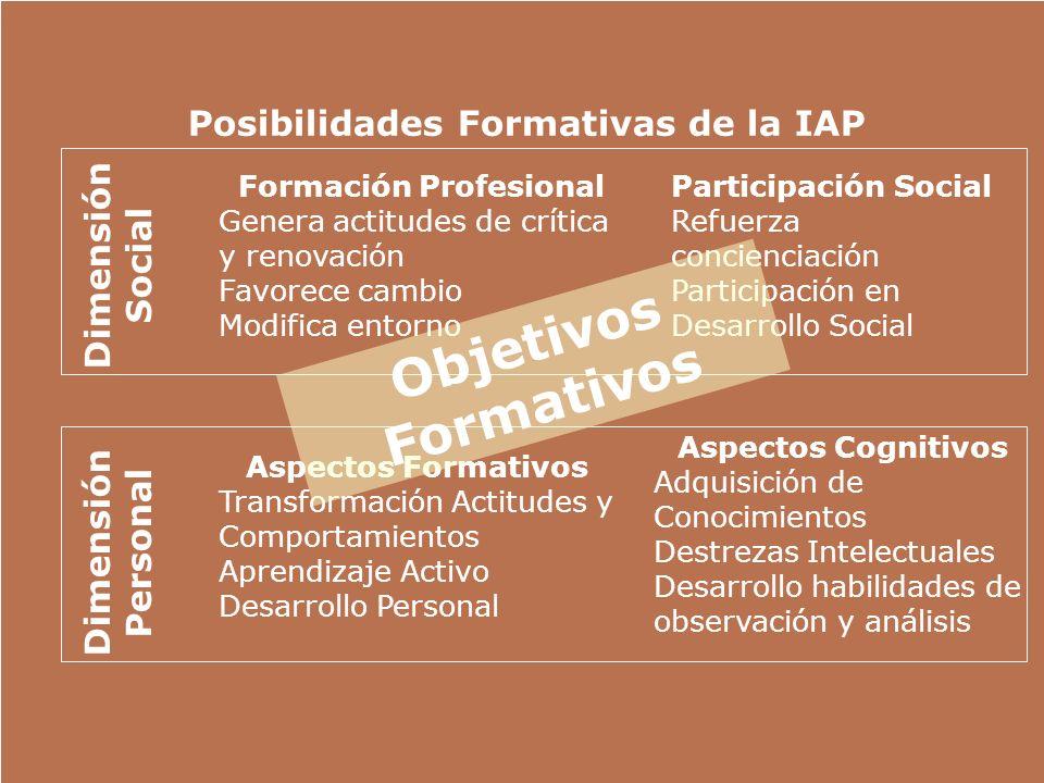 Posibilidades Formativas de la IAP Dimensión Social Formación Profesional Genera actitudes de crítica y renovación Favorece cambio Modifica entorno Pa