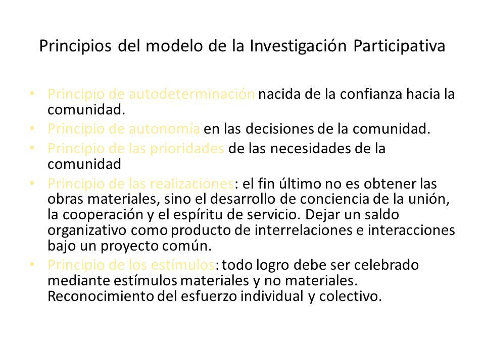 Principios del modelo de la Investigación Participativa Principio de autodeterminación nacida de la confianza hacia la comunidad. Principio de autonom