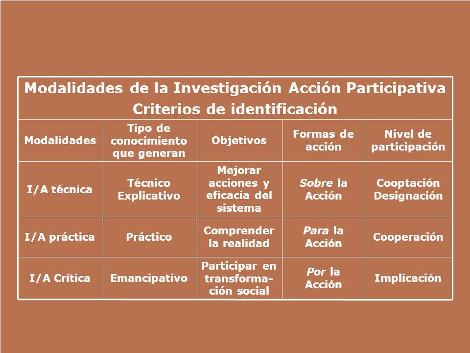 Implicación Por la Acción Participar en transforma- ción social EmancipativoI/A Crítica Cooperación Para la Acción Comprender la realidad PrácticoI/A