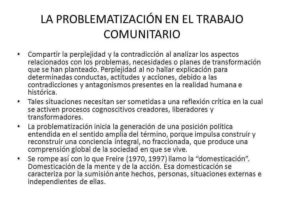LA PROBLEMATIZACIÓN EN EL TRABAJO COMUNITARIO Compartir la perplejidad y la contradicción al analizar los aspectos relacionados con los problemas, nec