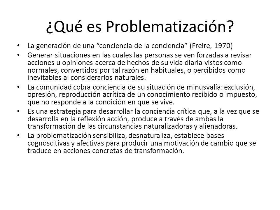 ¿Qué es Problematización? La generación de una conciencia de la conciencia (Freire, 1970) Generar situaciones en las cuales las personas se ven forzad