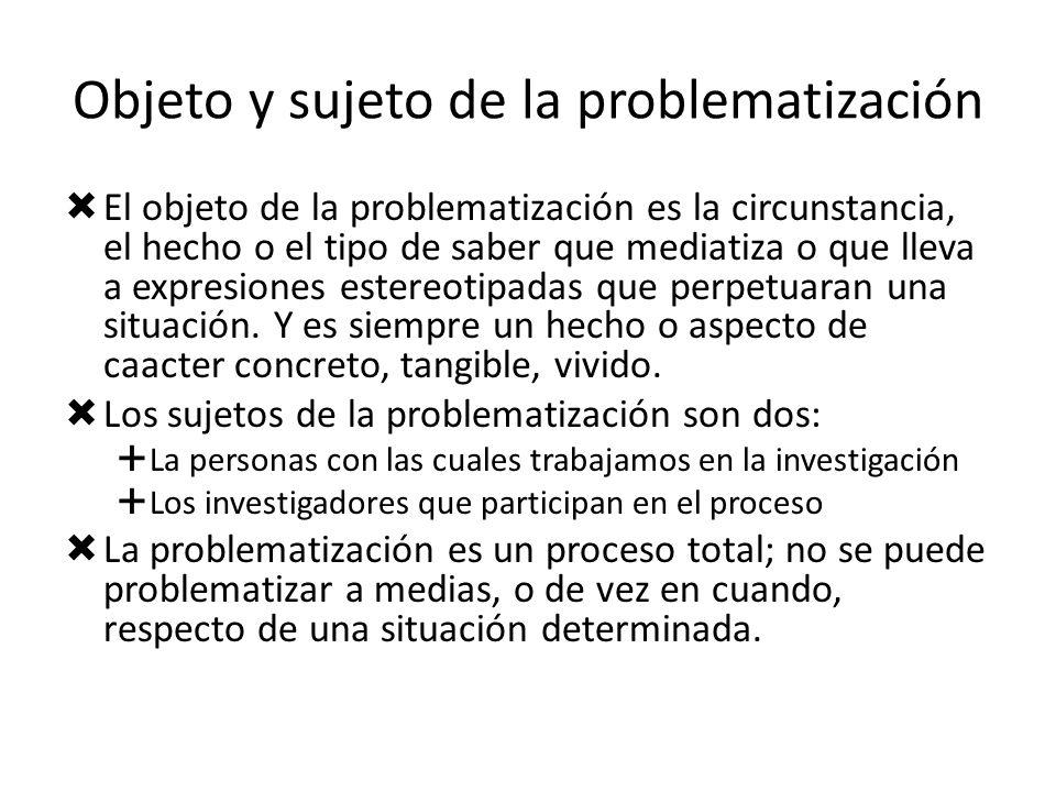 Objeto y sujeto de la problematización El objeto de la problematización es la circunstancia, el hecho o el tipo de saber que mediatiza o que lleva a e