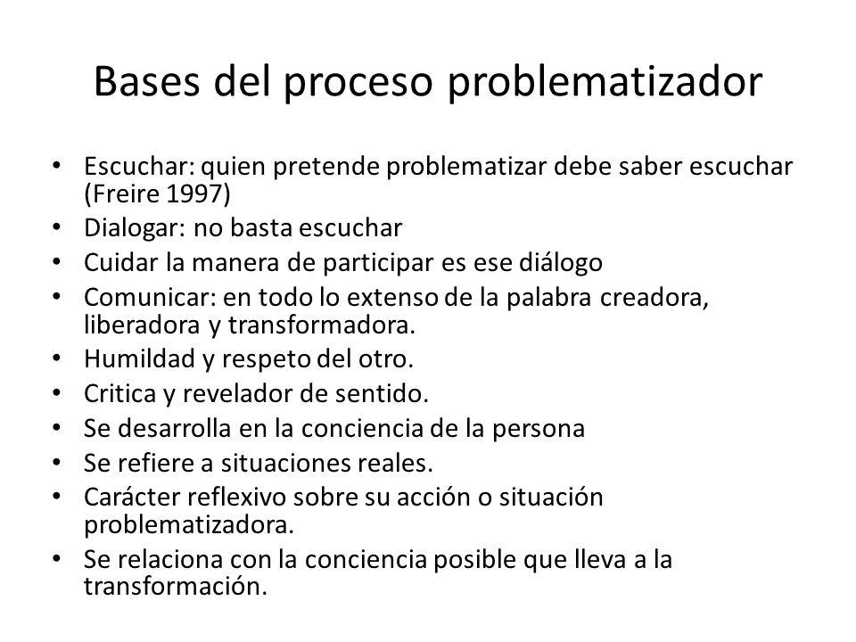 Bases del proceso problematizador Escuchar: quien pretende problematizar debe saber escuchar (Freire 1997) Dialogar: no basta escuchar Cuidar la maner