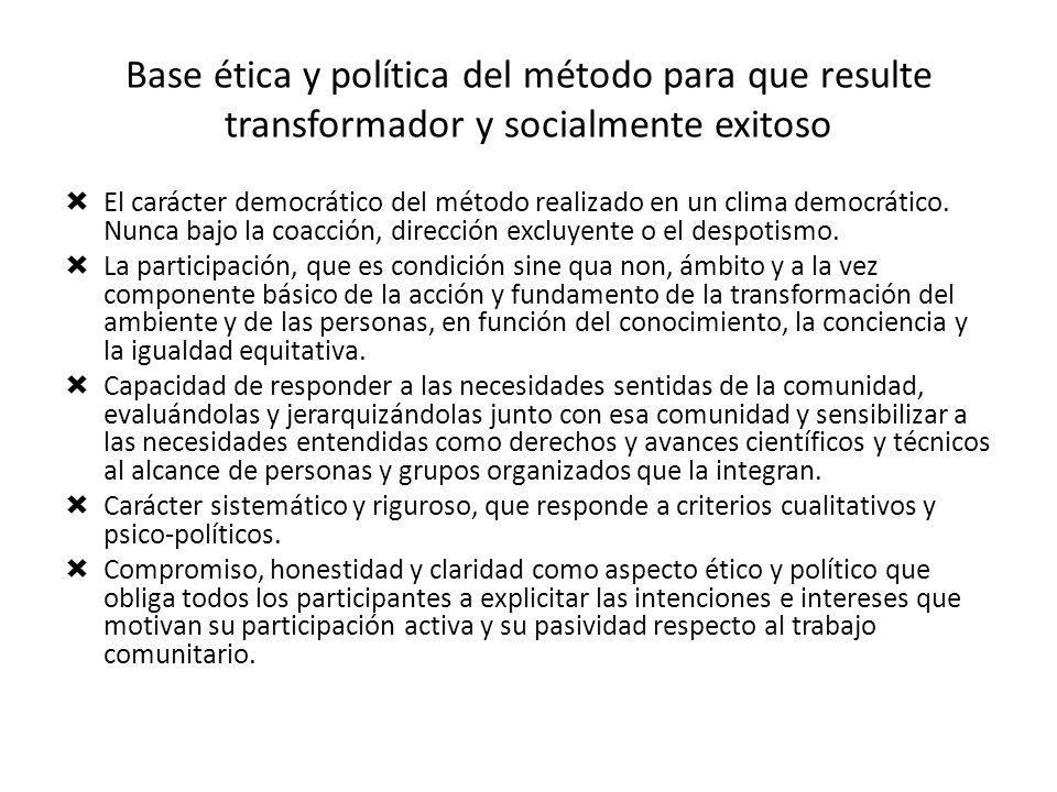 Base ética y política del método para que resulte transformador y socialmente exitoso El carácter democrático del método realizado en un clima democrá