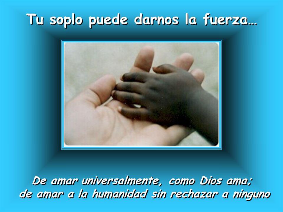 Tu soplo puede darnos la fuerza… Tu soplo puede darnos la fuerza… De amar universalmente, como Dios ama; de amar a la humanidad sin rechazar a ninguno
