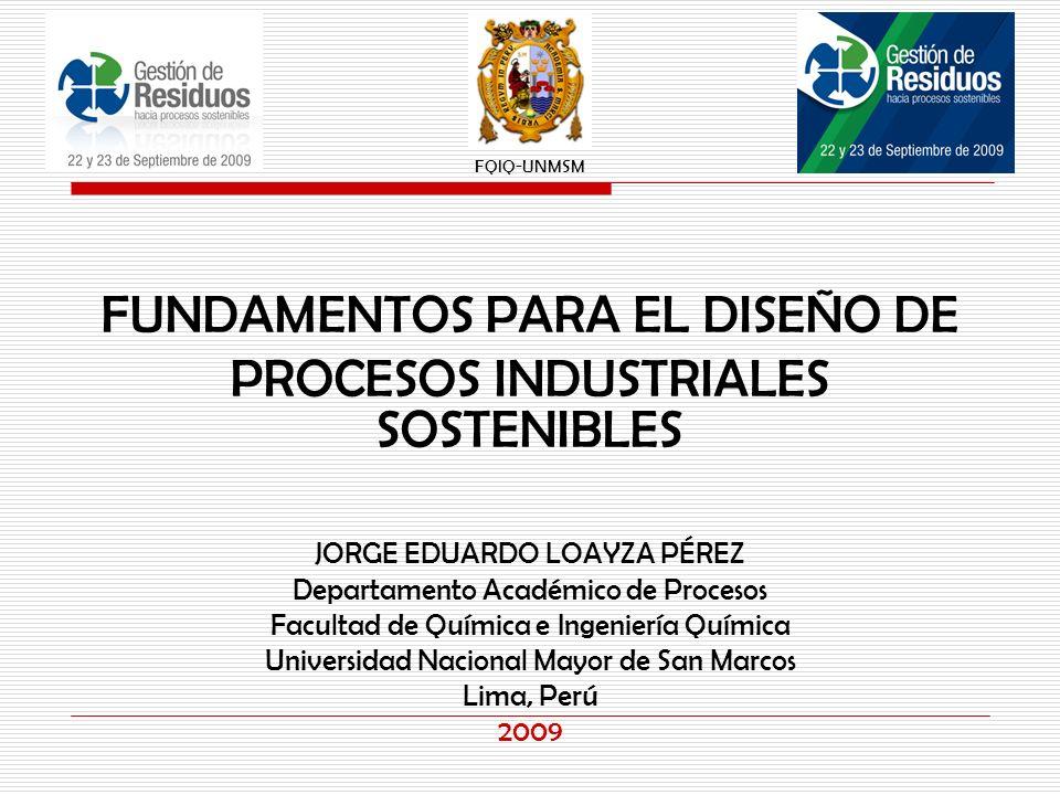 JORGE EDUARDO LOAYZA PÉREZ Departamento Académico de Procesos Facultad de Química e Ingeniería Química Universidad Nacional Mayor de San Marcos Lima,