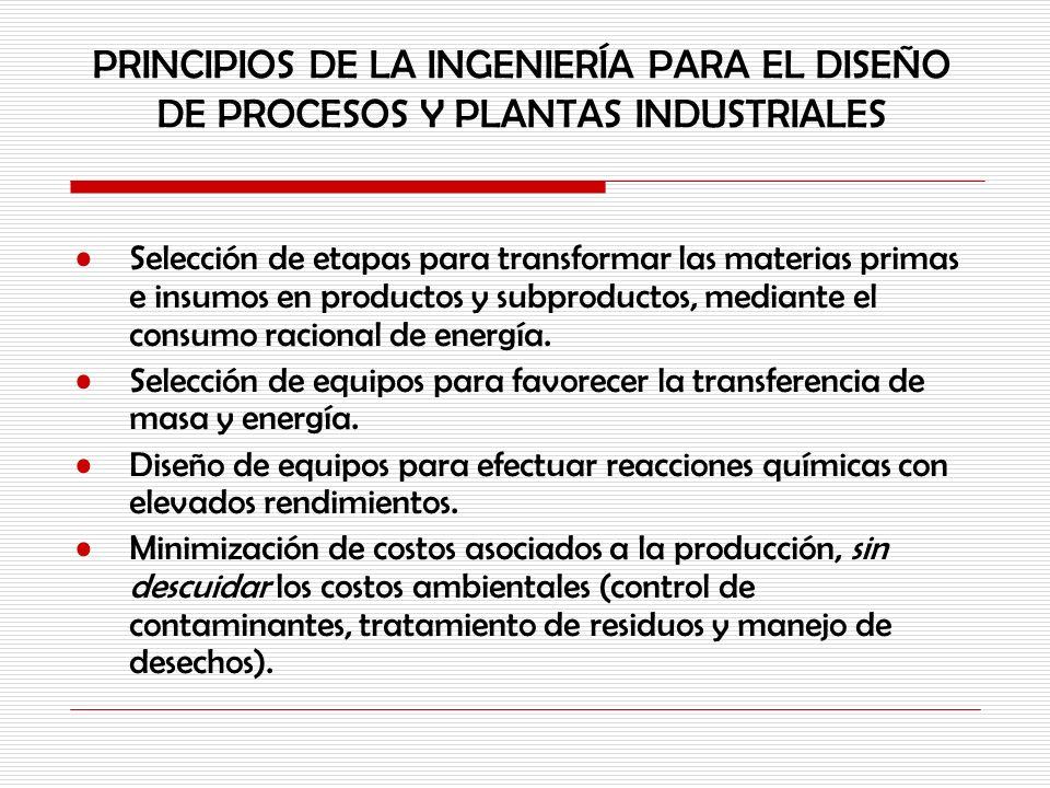 PRINCIPIOS DE LA INGENIERÍA PARA EL DISEÑO DE PROCESOS Y PLANTAS INDUSTRIALES Selección de etapas para transformar las materias primas e insumos en pr