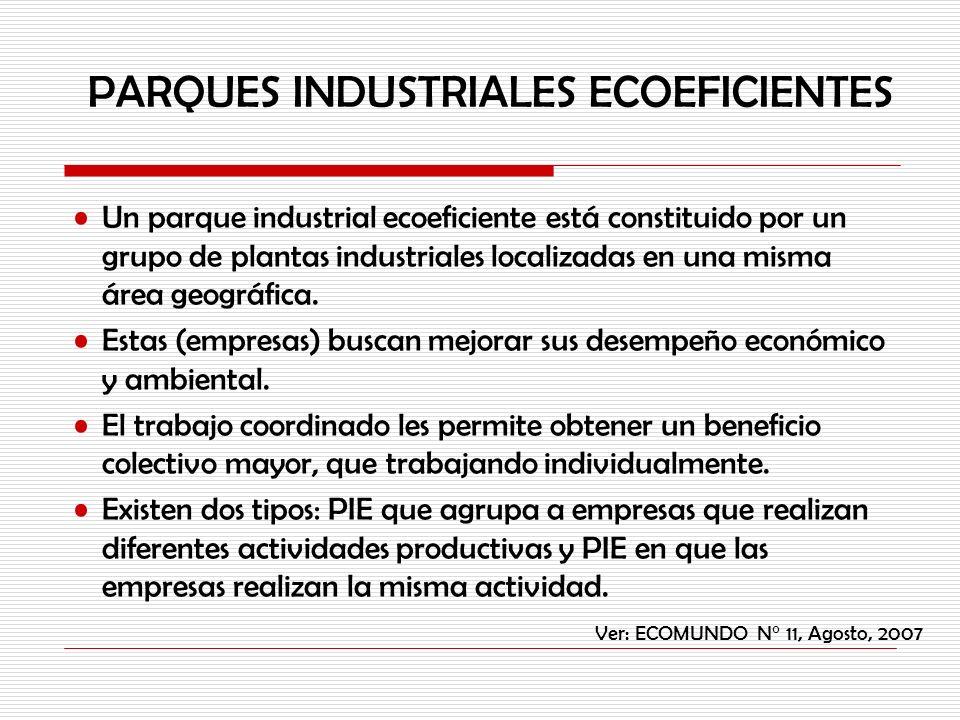 Un parque industrial ecoeficiente está constituido por un grupo de plantas industriales localizadas en una misma área geográfica. Estas (empresas) bus