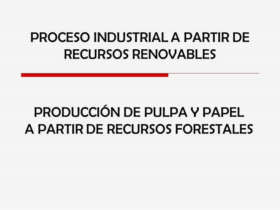 PROCESO INDUSTRIAL A PARTIR DE RECURSOS RENOVABLES PRODUCCIÓN DE PULPA Y PAPEL A PARTIR DE RECURSOS FORESTALES
