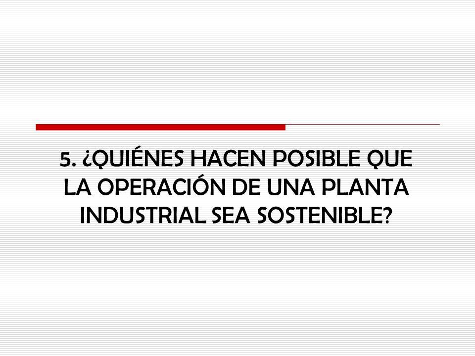 5. ¿QUIÉNES HACEN POSIBLE QUE LA OPERACIÓN DE UNA PLANTA INDUSTRIAL SEA SOSTENIBLE?