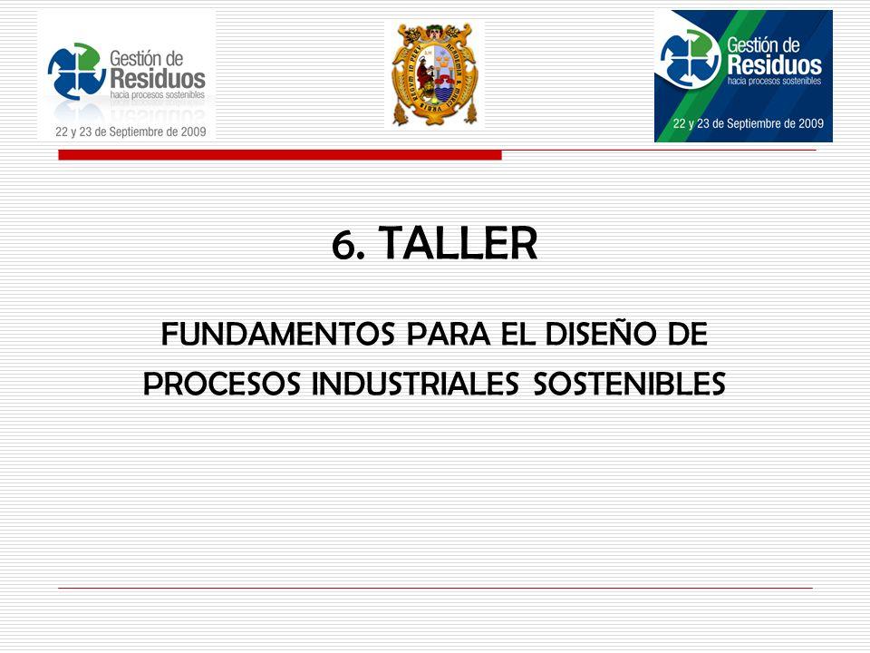 FUNDAMENTOS PARA EL DISEÑO DE PROCESOS INDUSTRIALES SOSTENIBLES 6. TALLER