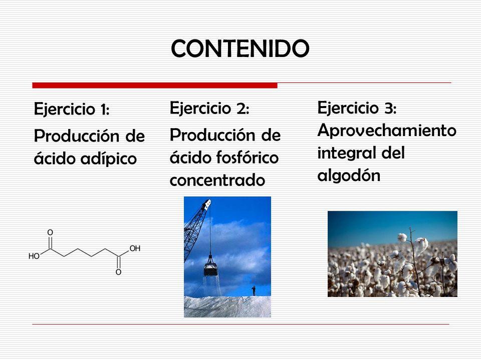 CONTENIDO Ejercicio 2: Producción de ácido fosfórico concentrado Ejercicio 3: Aprovechamiento integral del algodón Ejercicio 1: Producción de ácido ad