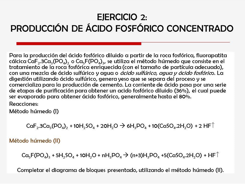 EJERCICIO 2: PRODUCCIÓN DE ÁCIDO FOSFÓRICO CONCENTRADO Para la producción del ácido fosfórico diluido a partir de la roca fosfórica, fluorapatita cálc