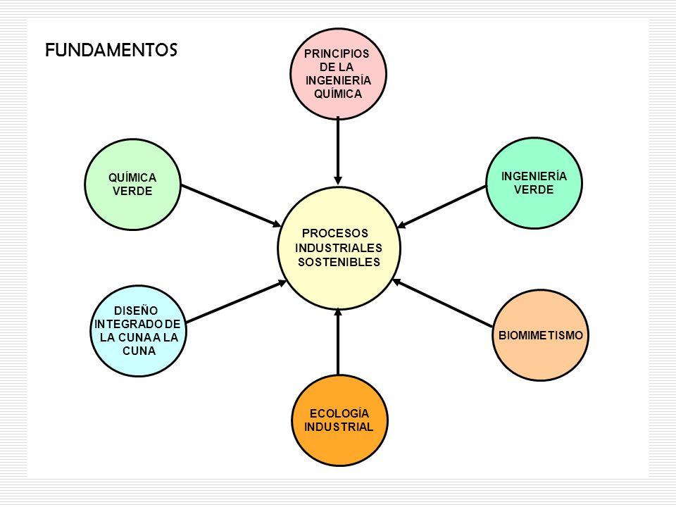 PROCESOS INDUSTRIALES SOSTENIBLES PRINCIPIOS DE LA INGENIERÍA QUÍMICA INGENIERÍA VERDE QUÍMICA VERDE DISEÑO INTEGRADO DE LA CUNA A LA CUNA BIOMIMETISM