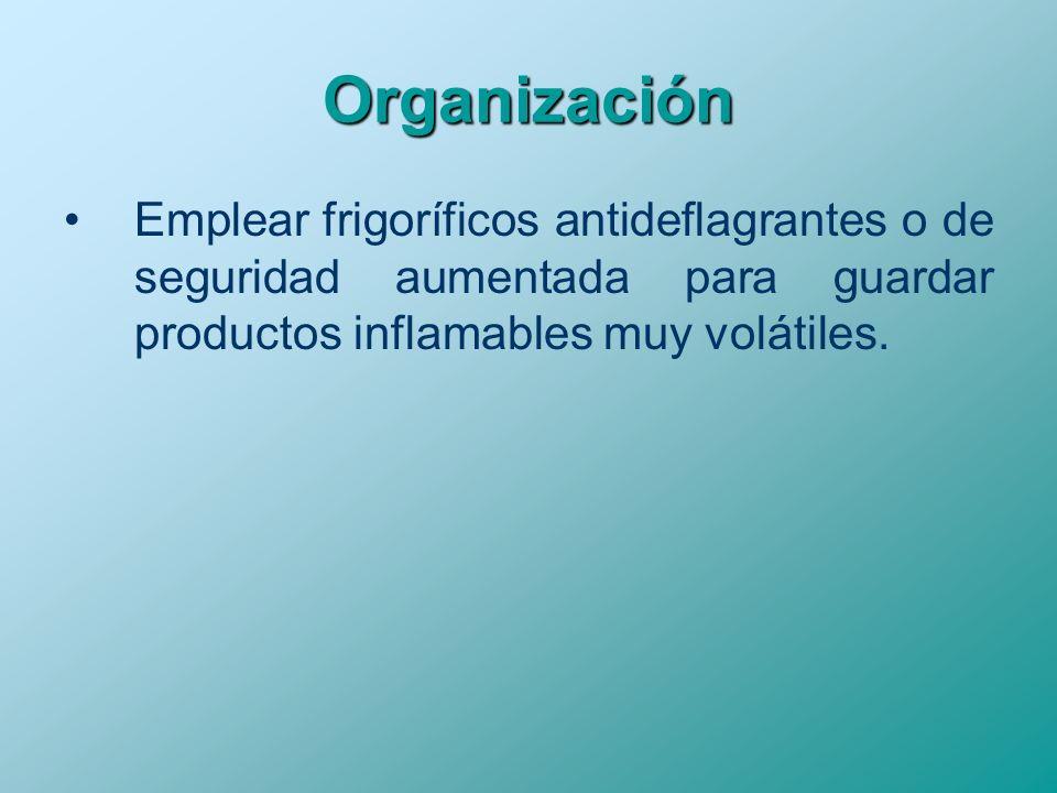 Organización Emplear frigoríficos antideflagrantes o de seguridad aumentada para guardar productos inflamables muy volátiles.