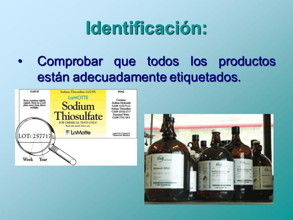 Identificación: Comprobar que todos los productos están adecuadamente etiquetados.Comprobar que todos los productos están adecuadamente etiquetados.
