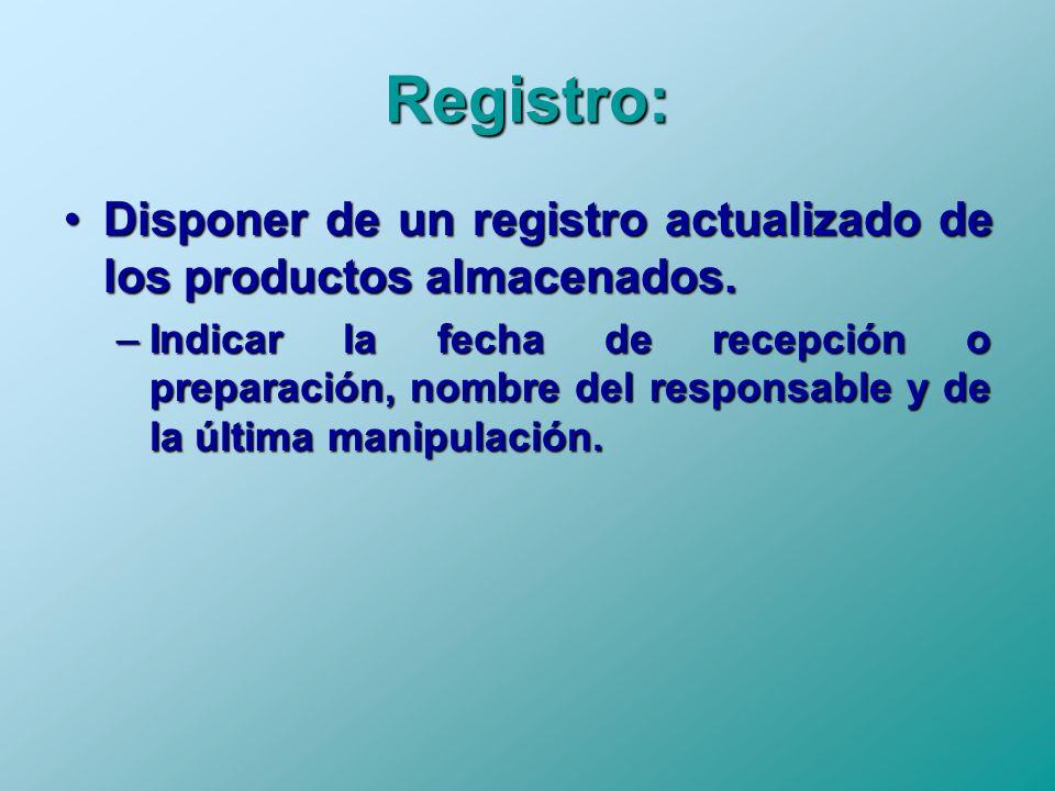 Registro: Disponer de un registro actualizado de los productos almacenados.Disponer de un registro actualizado de los productos almacenados. –Indicar