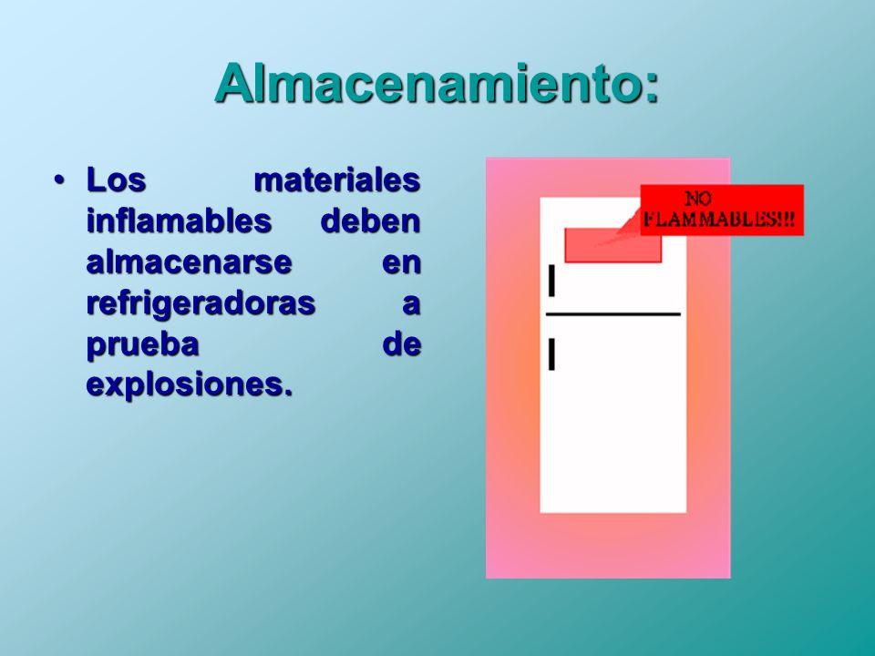 Almacenamiento: Los materiales inflamables deben almacenarse en refrigeradoras a prueba de explosiones.Los materiales inflamables deben almacenarse en