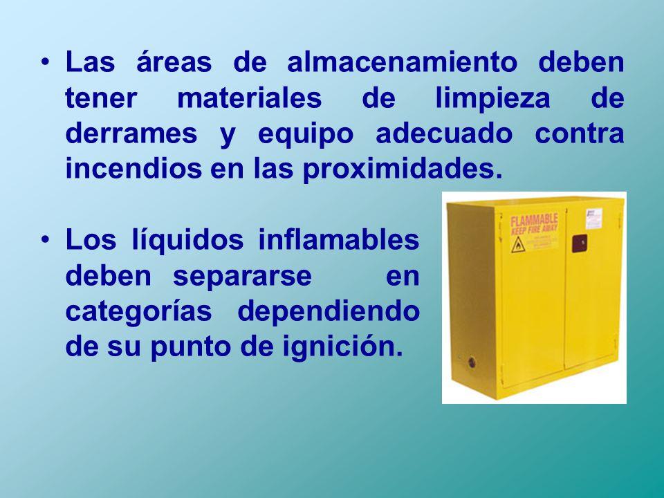 Las áreas de almacenamiento deben tener materiales de limpieza de derrames y equipo adecuado contra incendios en las proximidades. Los líquidos inflam