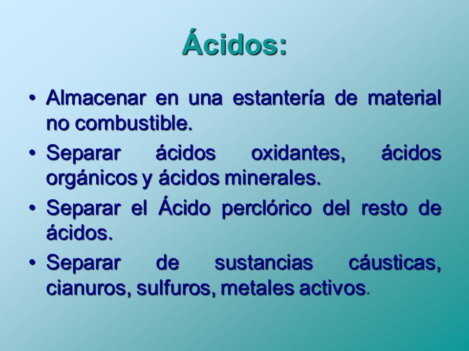 Ácidos: Almacenar en una estantería de material no combustible. Separar ácidos oxidantes, ácidos orgánicos y ácidos minerales. Separar el Ácido percló