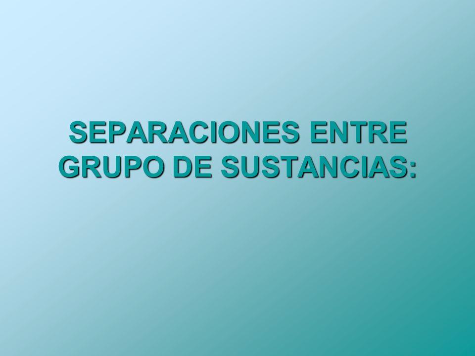 SEPARACIONES ENTRE GRUPO DE SUSTANCIAS:
