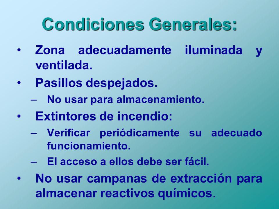 Condiciones Generales: Zona adecuadamente iluminada y ventilada. Pasillos despejados. –No usar para almacenamiento. Extintores de incendio: –Verificar