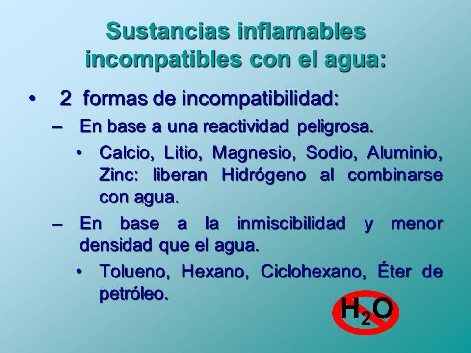 Sustancias inflamables incompatibles con el agua: 2 formas de incompatibilidad:2 formas de incompatibilidad: –En base a una reactividad peligrosa. Cal