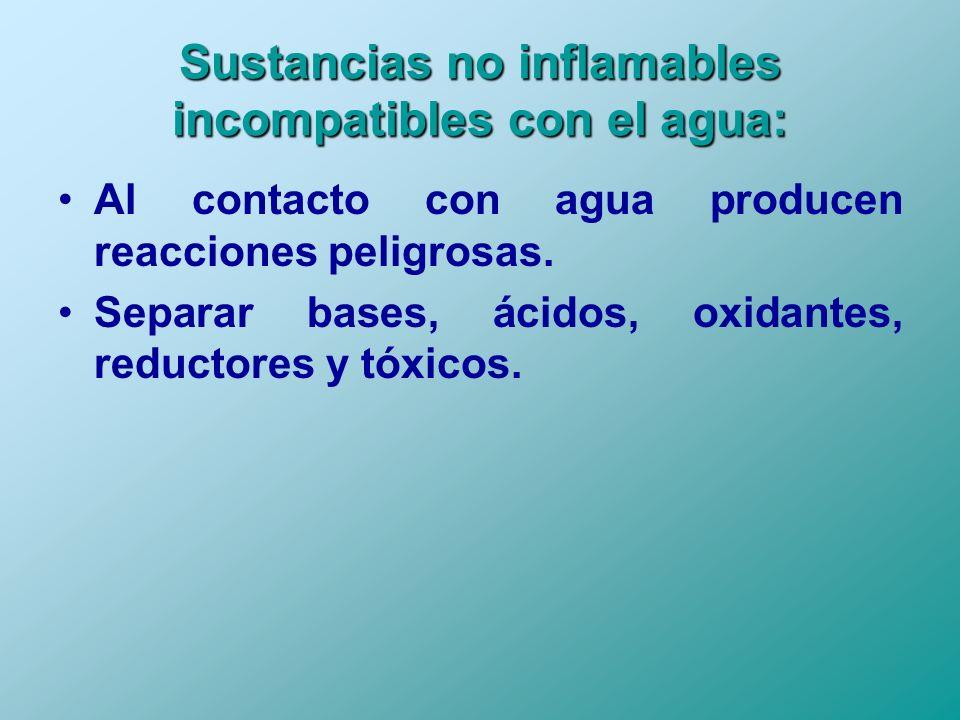 Sustancias no inflamables incompatibles con el agua: Al contacto con agua producen reacciones peligrosas. Separar bases, ácidos, oxidantes, reductores