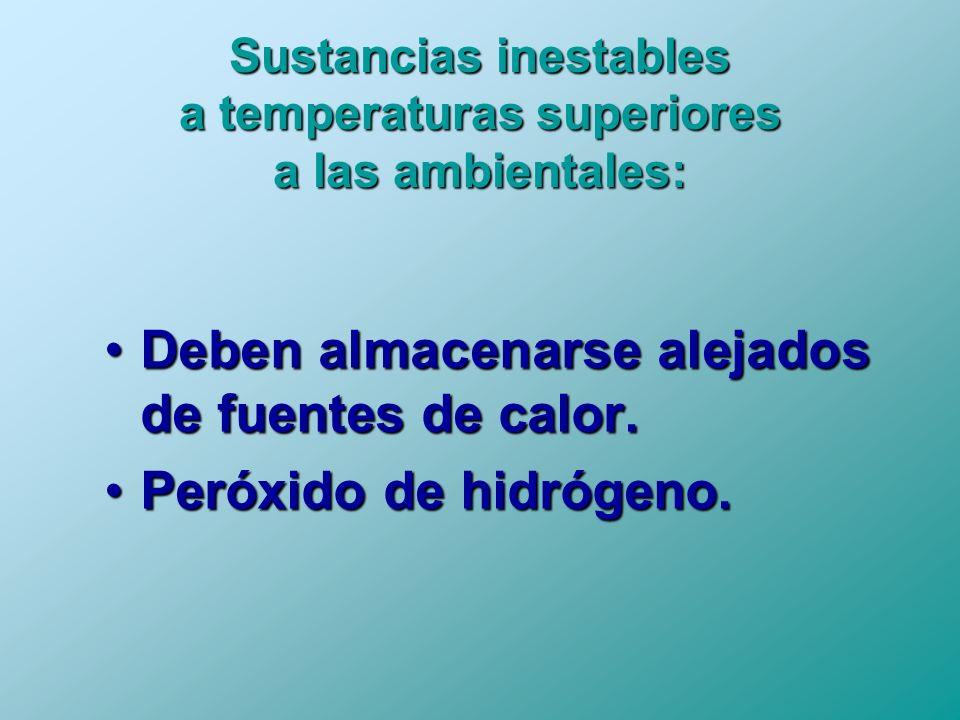 Sustancias inestables a temperaturas superiores a las ambientales: Deben almacenarse alejados de fuentes de calor.Deben almacenarse alejados de fuente