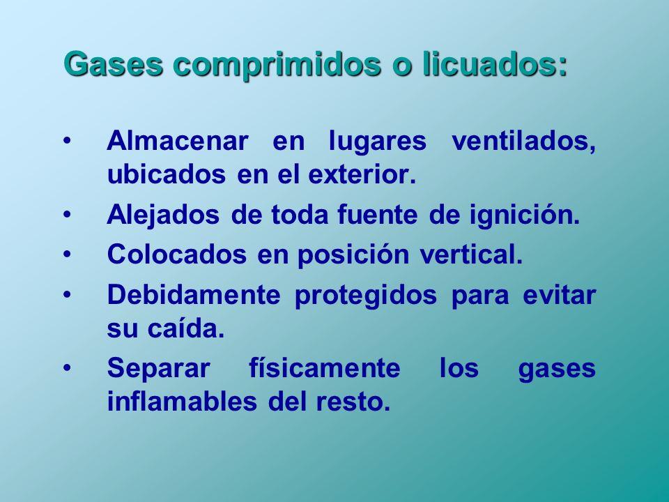 Gases comprimidos o licuados: Almacenar en lugares ventilados, ubicados en el exterior. Alejados de toda fuente de ignición. Colocados en posición ver