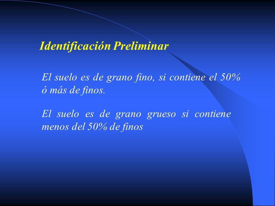 Identificación Preliminar El suelo es de grano fino, si contiene el 50% ó más de finos. El suelo es de grano grueso si contiene menos del 50% de finos