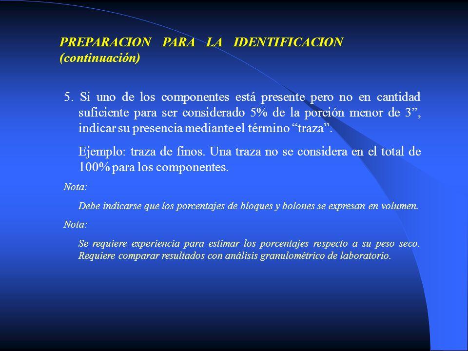 PREPARACION PARA LA IDENTIFICACION (continuación) 5. Si uno de los componentes está presente pero no en cantidad suficiente para ser considerado 5% de