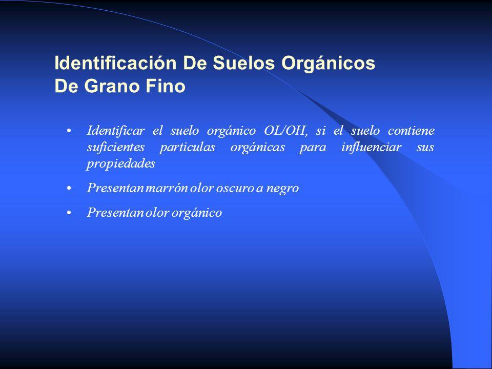 Identificación De Suelos Orgánicos De Grano Fino Identificar el suelo orgánico OL/OH, si el suelo contiene suficientes particulas orgánicas para influ